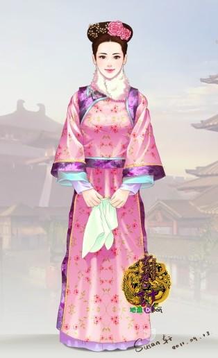 清朝服装手绘图片